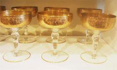 Antique Gold Encrusted Elegant Glass Stemware Wide Band Champagne Glasses  http://www.ebay.com/itm/110992609541?ssPageName=STRK:MESELX:IT&_trksid=p3984.m1586.l2649