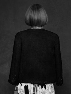 anna wintour portrait from karl lagerfeld's new book (he photograph's different fashion icons with their take on the classic Chanel tweed jacket)