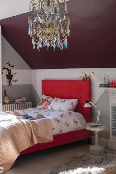 Children's Bedroom Painted In Farrow & Ball Lamp Room Gray, Blackened And Pelt Kids Bedroom Paint, Gray Bedroom, Bedroom Decor, Bedroom Ideas, Bedroom Color Schemes, Bedroom Colors, Plafond Design, Colored Ceiling, Ceiling Design