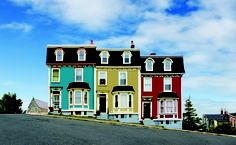 This is an adorable set of paint jobs! House located in St. John's, Newfoundland and Labrador, Canada Newfoundland Canada, Newfoundland And Labrador, Saint John, Atlantic Canada, O Canada, Second Empire, Old Houses, Saltbox Houses, Nice Houses