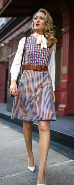 Blue, red and white checked knit dress, white tie-neck blouse, brown leather waist belt, white Red Outfits For Women, Fall Outfits, Clothes For Women, Modest Fashion, Fashion Outfits, Saint Laurent, Tie Neck Blouse, Thanksgiving Outfit, Classic Style Women