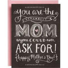 Super cute chalkboard art card for Mother's Day... #chalkboardart #mothersday #giftideas