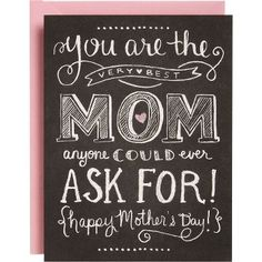 Super cute chalkboard art card for Mother's Day... #chalkboardart #mothersday #giftideas