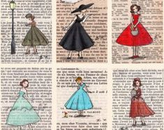 Paris Vintage Bookish Postcards Set of 12 by CastleOnTheHill