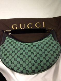 bfecb4fabc Gucci Signature Fabric Hobo Shoulder Handbag (Black green.