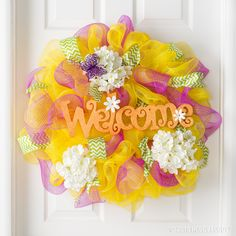 Welcome springtime guests with a color-filled deco mesh wreath!