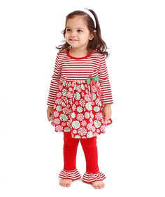 Gerson & Gerson Red Candy Babydoll Top & Leggings - Infant, Toddler & Girls by Gerson & Gerson #zulily #zulilyfinds