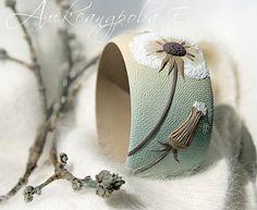 Bangle Blowball Bracelet Dandelion Wide Bangle by AleksPolymer
