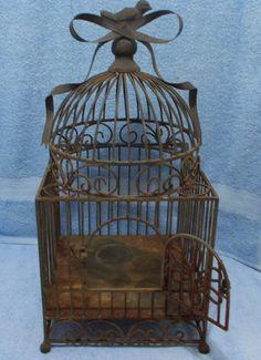 "Vintage Antique 20"" Cast Metal Iron Brass Bird Cage Bird Bow Finial Victorian?"