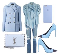 """""""Chick's feeling blue"""" by ellenfischerbeauty on Polyvore featuring Paige Denim, Yves Saint Laurent, Balenciaga, Versace, Givenchy, YSL, louisvuitton, saintlaurent and TOMFORD"""