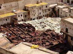 Zona donde se curten las pieles en Fez. Lugar muy turístico, pese a que cientos de personas trabajan allí en malisimas condiciones