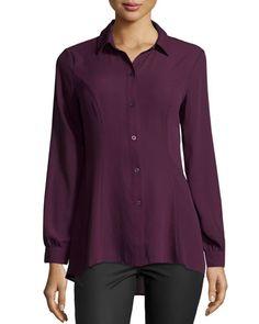 5Twelve Long-Sleeve Flutter-Hem Blouse, Purple  New offer @@@ Price :$98 Price Sale $53