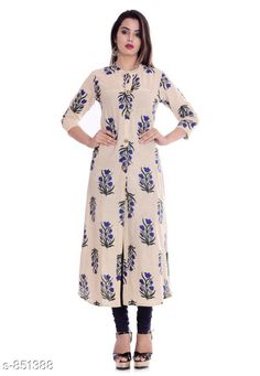 Kurtis & Kurtas Fancy Cotton Printed Kurti Fabric: Cotton  Sleeves: 3/4 Sleeves Are Included Size: M - 38 in , L - 40 in, XL - 42 in, XXL - 44 in Length: Up To 46 in Type: Stitched Description: It Has 1 Piece Women's Kurti Work: Printed Sizes Available: M, L, XL, XXL *Proof of Safe Delivery! Click to know on Safety Standards of Delivery Partners- https://ltl.sh/y_nZrAV3  Catalog Rating: ★4 (216)  Catalog Name: Kaira Fancy Cotton Printed Kurtis Vol 1 CatalogID_98581 C74-SC1001 Code: 124-851388-