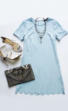 Adorable Scalloped Dress in Light Blue