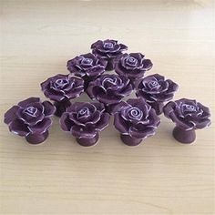 SunKni 41mm 10Pcs Rose Flower Floral Knobs Ceramic Drawer Handles Pulls for Wardrobe Cupboard Dresser Cabinet Closet Kitchen Furniture with Free Screws 2015 New Sets Pack of 10 (Purple)