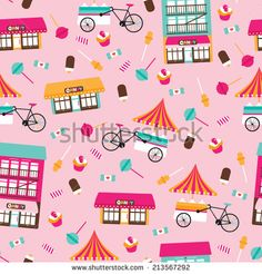 Seamless candy show and ice cream stand bike colorful kids illustration background pattern in vector - stock vector