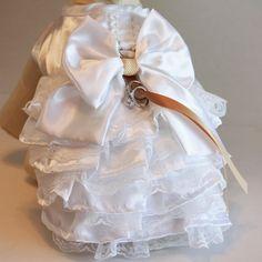 Champagne White Dog dress, Dog ring bearer, Champagne Wedding accessory, Unique Champagne Wedding idea, Chic, Pet lovers, Ring Pillow