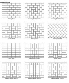 Paver patio designs. These would also make great quilt layout designs too - keep in mind that we'll have to cut angles, so choose one where they will only be 90 degrees