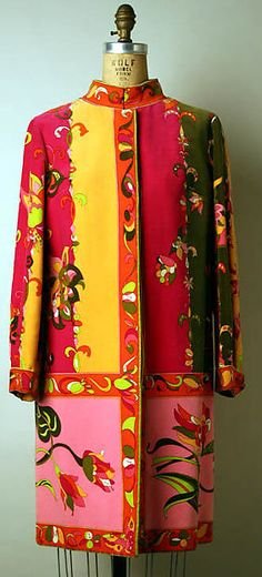 Ensemble (coat; 1 of 4 pieces), Emilio Pucci for Saks Fifth Avenue, 1965-69, Italian, silk and leather, The Metropolitan Museum of Art.
