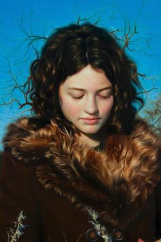 """""""Winter Weeds"""" - Katherine Stone (b. 1986), oil on panel, 2010 {figurative realism art female standing woman portrait cropped painting detail} katestoneart.com"""