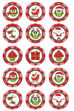 INSTANT DOWNLOAD Christmas Owls and More Bottle Cap por DigiPrintz