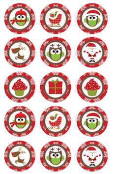 INSTANT DOWNLOAD  Christmas Owls and More Bottle Cap por DigiPrintz