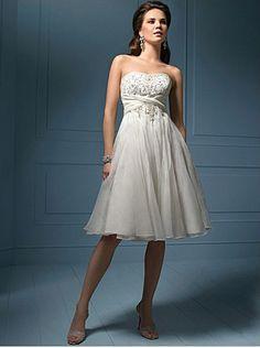 Wholesale Cheap Siren Beads Working Sash / Ribbon Empire Wasit Gauze Satin Tea-Length Beach Bridal Gown