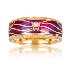 Cellini Jewelers  'Dream of a Lifetime' Ring by Wellendorff  'Dream of a Lifetime' spinning band ring in fuschia cold enamel with changing color tones, in a wave design, with a row of brilliant white diamonds along each edge. Handcrafted in 18-karat yellow gold; yellow gold interior is engraved with your personal winged guardian angel.