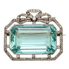 Russian Aquamarine & Diamond Brooch
