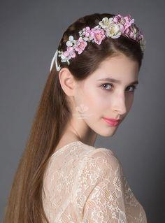 Couronne nuptiale en fleurs de soie perles et strass en vente sur miamastore
