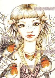 Robyn  beautiful girl with robins  surreal pop by tanyabond