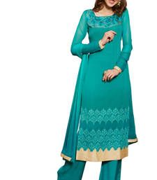 Buy Sky Blue Embroidered Georgette Unstiched dress-material online