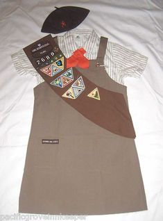 Vintage Girl Scout 1986 1993 Brownie Uniform Jumper Shirt Tie Hat Sash Official | eBay ( I wore  every thing but the hat)