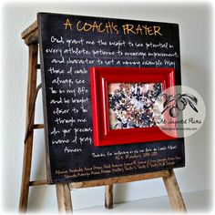 Coaches Gift, Soccer Coach, Basketball Coach, Cheer Coach, Football Coach, Baseball Coach, Thank You Frame, A COACHS PRAYER 16x16 Personalized