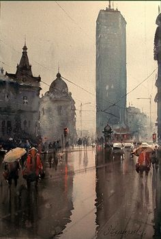 Beautiful! Dusand Jukaric, Spring Rain, Watercolour, 38 x 56 cm