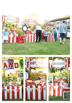 Carnival Style idea for community events! Backyard Carnival, Fall Carnival, Diy Carnival, Circus Carnival Party, Circus Theme Party, Christmas Carnival, Carnival Birthday Parties, Carnival Themes, Circus Birthday