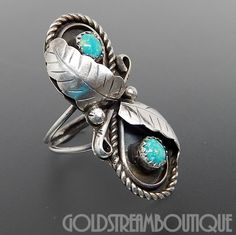 NATIVE AMERICAN VINTAGE NAVAJO 925 STERLING SILVER TURQUOISE CARVED LEAVES RING SIZE 6