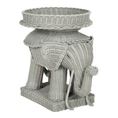 Bring the feelings of an exciting safari to your space with the Safavieh Balford Storage Accent Table. Crafted of rattan kubu with a woven design and built-in tray, the elephant-shaped accent table is a unique addition to any room's décor. Grey Side Table, Rattan Side Table, Square Side Table, Side Table With Storage, Wood Rounds, Hotel Interiors, Wood Dust, Grey Wood, End Tables
