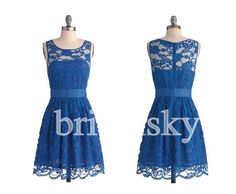 Short Royal Blue Lace Prom Dresses Party Dresses by bridalsky, $99.00