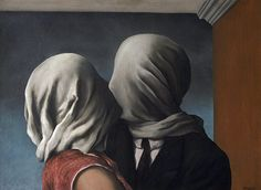 The Lovers, by René Magritte 1928  One of several works with figures whose heads are mysteriously covered