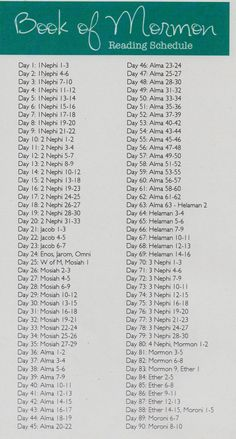 Book of Mormon 6 Month reading Chart from General ...