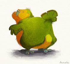 Kakapo love by Danielle Brown, via Behance