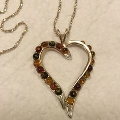 """STERLING SILVER HEART NECKLACE NEW Measures 17"""" length drop...breautiful Sterling silver Jewelry Necklaces"""