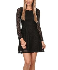 Black Lace-Layered A-Line Dress by JGee #zulily #zulilyfinds