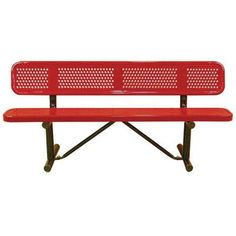 """Leisure Craft Standard Perforated In Ground Metal Park Bench Finish: Red, Size: 180"""" W x 12"""" D"""