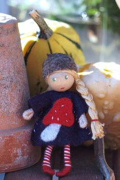 Forest gnome with mushroom  A Waldorf inspired bendy doll   By: A Curious Twirl  Twirl   https://www.etsy.com/shop/ACuriousTwirl