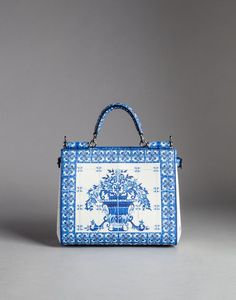 BLUE MAJOLICA PRINT CALFSKIN SICILY SHOPPING BAG  - Medium leather bags - Dolce&Gabbana - Winter 2015