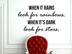 """Inspirational Motivational Quote Wall Decal Home Décor """"When It Rains Look for Rainbows"""" 28x17 Inches"""