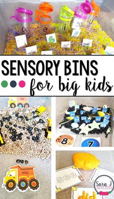 Sensory Bins for big kids is a great gift idea to bring sensory activities to kids in kindergarten and older. Combine it with some letter, number and sight word practice for an extra educational boost! Sensory Tubs, Sensory Boxes, Sensory Play, Fall Sensory Bin, Toddler Sensory Bins, Sensory Diet, Baby Sensory, Motor Activities, Preschool Activities