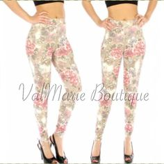 Floral Rose Camel Leggings GORGEOUS!!! Tag says these are XL/XXL but they are not! They are a L/XL for sizes 8-12. They are so comfortable and stunning and no they are not see through. Premium floral camel leggings for the Spring. Made of 80% cotton, 20% polyester. These are an absolute must have for the season. Price is firm. You may purchase this listing as I've created individual listings for each size. Length fits most heights. ValMarie Boutique Pants Leggings